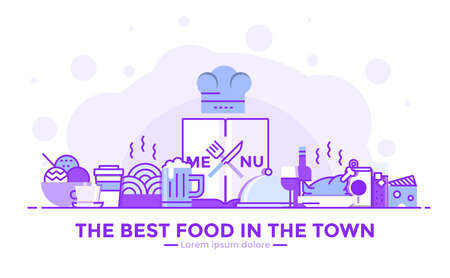 Thin line smooth purple and blue flat design banner of Restaurant for website and mobile website, easy to use and highly customizable. Modern vector illustration concept, isolated on white background.