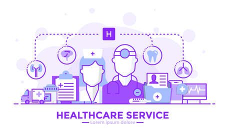 Thin line smooth purple and blue flat design banner of Healthcare service for website and mobile website, easy to use and highly customizable. Modern vector illustration concept, isolated on white background.