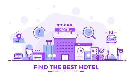 Thin line smooth purple and blue flat design banner of Find the best hotel for website and mobile website, easy to use and highly customizable. Modern vector illustration concept, isolated on white background.