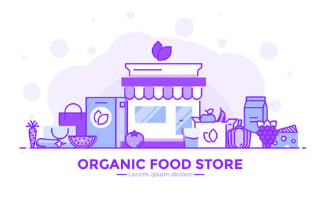 Thin line smooth purple and blue flat design banner of Organic Food Store for website and mobile website, easy to use and highly customizable. Modern vector illustration concept, isolated on white background. Иллюстрация