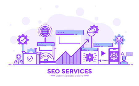 Thin line smooth purple and blue flat design banner of SEO Services for website and mobile website, easy to use and highly customizable. Modern vector illustration concept, isolated on white background.