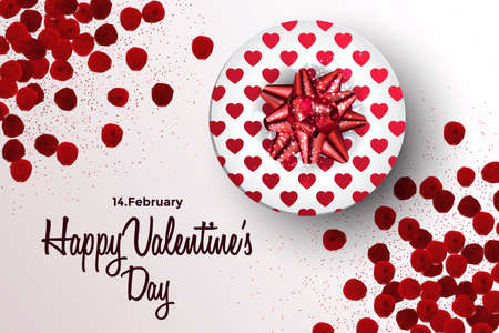 Happy Valentines Day greeting card or banner. Top view on romantic composition with gift boxes, rose petals and red heart. Vector Illustration