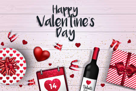 Happy Valentines Day greeting card or banner. Top view on romantic composition with gift boxes, rose petals, bottle of wine and red hearts. Vector Illustration