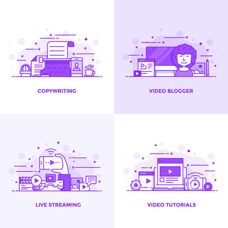 Modern Flat Purple color line designed concepts icons for Copywriting, Video Blogger, Live Streaming and Video Tutorials. Can be used for Web Project and Applications. Vector Illustration