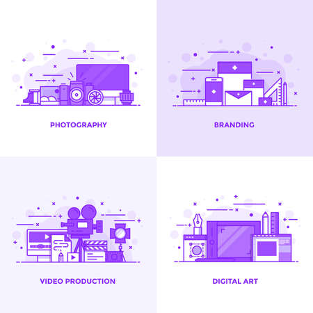 Modern Flat Purple color line designed concepts icons for Photography, Branding, Video Production and Digital art. Can be used for Web Project and Applications. Vector Illustration Illustration