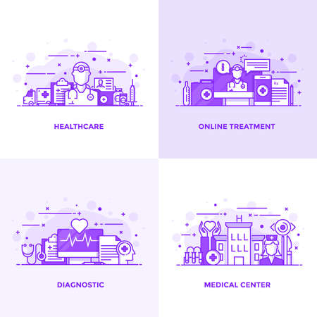 Modern Flat Purple color line designed concepts icons for Healthcare, Online Treatment, Diagnostic and Medical Center. Can be used for Web Project and Applications. Vector Illustration