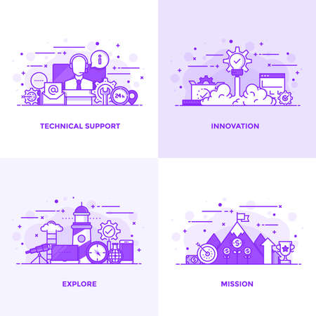 Modern Flat Purple color line designed concepts icons for Technical Support, Innovation, Explore and Mission. Can be used for Web Project and Applications. Vector Illustration Illustration