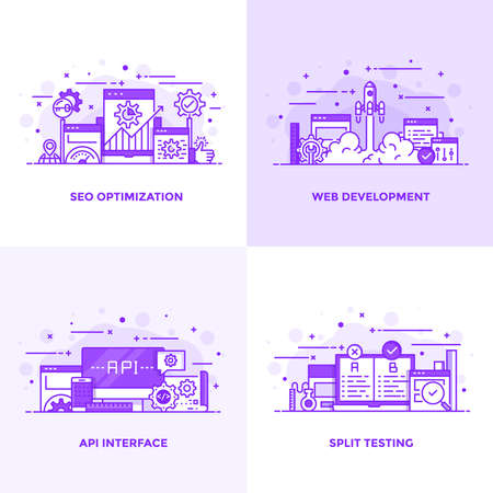 Modern Flat Purple color line designed concepts icons for Seo Optimization, Web Development, Api Interface and Split Testing. Can be used for Web Project and Applications. Vector Illustration