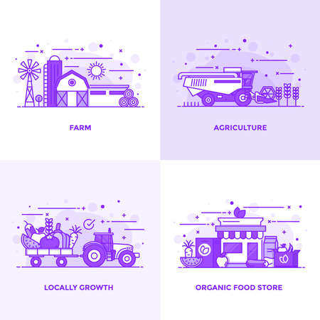 Modern Flat Purple color line designed concepts icons for Farm, Agriculture, Locally Growth and Organic Food Store. Can be used for Web Project and Applications. Vector Illustration