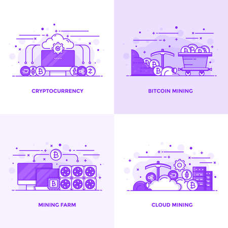 Modern Flat Purple color line designed concepts icons for Cryptocurrency, Bitcoin Mining, Mining Farm and Cloud Mining. Can be used for Web Project and Applications. Vector Illustration Иллюстрация