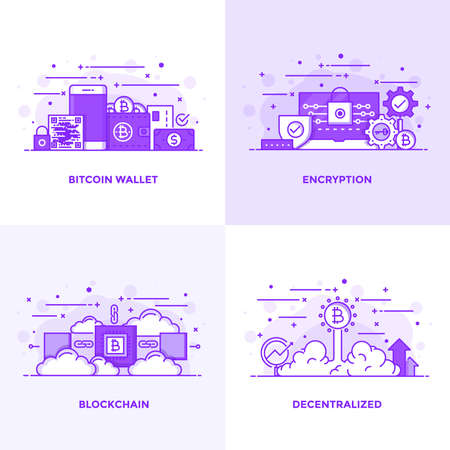 Modern Flat Purple color line designed concepts icons for Bitcoin Wallet, Encryption, Blockchain and Decentralized. Can be used for Web Project and Applications. Vector Illustration Иллюстрация