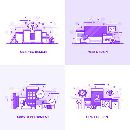 Modern Flat Purple color line designed concepts icons for Graphic Design, Web Design, Apps Development and Ui Design. Can be used for Web Project and Applications. Vector Illustration