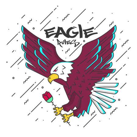Eagle design with typography design for poster and print design. Eagle Rules . T-Shirt, Poster or Flyer design. Vector Illustration Illustration