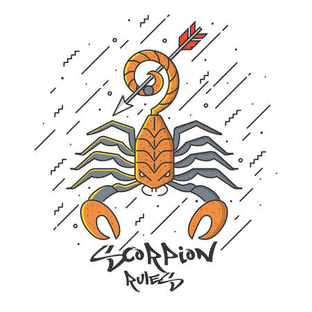 Scorpion design with typography design for poster and print design. Scorpion Rules . T-Shirt, Poster or Flyer design. Vector Illustration 免版税图像 - 97020119