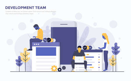 Modern Flat design people and Business concept for Development Team, easy to use and highly customizable. Modern vector illustration concept, isolated on white background.