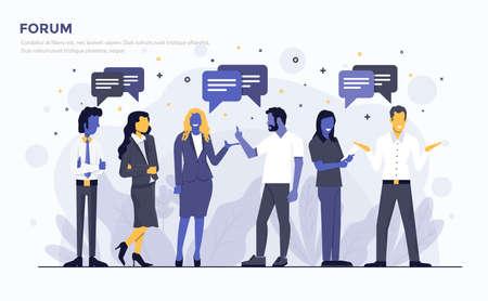 Modern plat ontwerp mensen en business concept voor Forum, gemakkelijk te gebruiken en zeer aanpasbaar. Modern vector illustratie concept, geïsoleerd op een witte achtergrond. Stock Illustratie