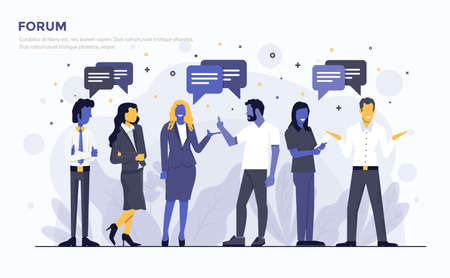 Modern Flat design people and Business concept for Forum, easy to use and highly customizable. Modern vector illustration concept, isolated on white background.
