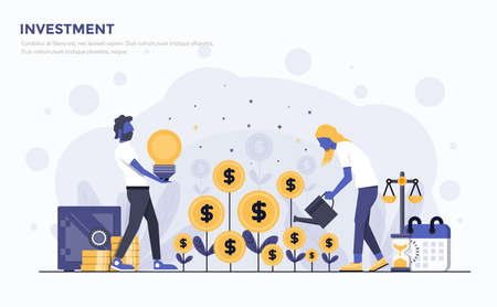 Modern Flat design of people and Business concept for Investment vector illustration