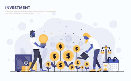 Nowoczesny projekt płaski ludzi i koncepcja biznesowa dla ilustracji wektorowych inwestycji