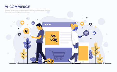 Modern Flat design people and Business concept for M-Commerce, easy to use and highly customizable. Modern vector illustration concept, isolated on white background.