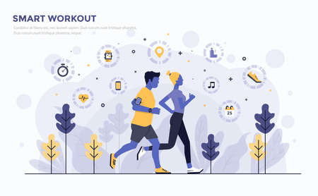 Modern flat design people and business concept for smart workout, easy to use and highly customizable. Modern vector illustration concept, isolated on white background.