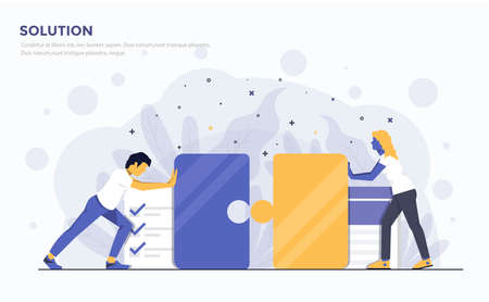 Modern Flat design people and Business concept for Solution, easy to use and highly customizable.