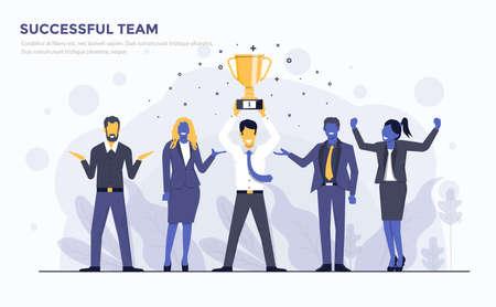 成功したチームのためのモダンフラットデザインの人々とビジネスコンセプト、使いやすく、高度にカスタマイズ可能。白い背景に分離された現代