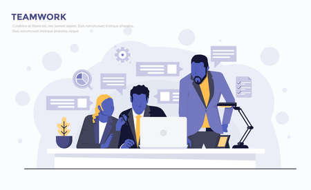 Modern Flat design people and Business concept for Teamwork, easy to use and highly customizable. Modern vector illustration concept, isolated on white background. Иллюстрация