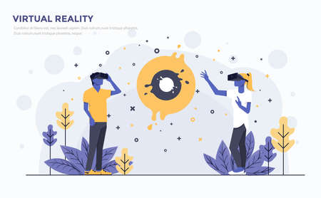 Modern Flat design of people and Business concept for Virtual Reality vector illustration