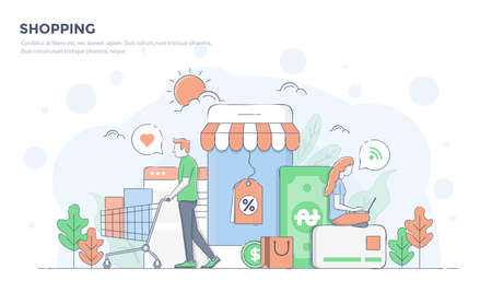 Modern flat line color design, hand drawn Line Business concept for Shopping, easy to use and highly customizable. Modern vector illustration concept, isolated on white background.