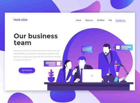 Landing page template of Our business team. Modern flat design concept of web page design for website and mobile website. Çizim