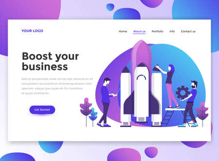 Landing page template of Boost your business. Modern flat design concept of web page design for website and mobile website.