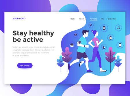 [健康を維持] のランディング ページ テンプレートはアクティブです。ウェブサイトやモバイルウェブサイト向けのWebページデザインのモダンなフラットデザインコンセプト。 ベクターイラストレーション