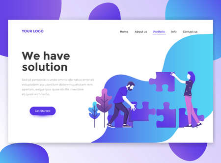 Landing page template of We have solution. Modern flat design concept of web page design for website and mobile website.