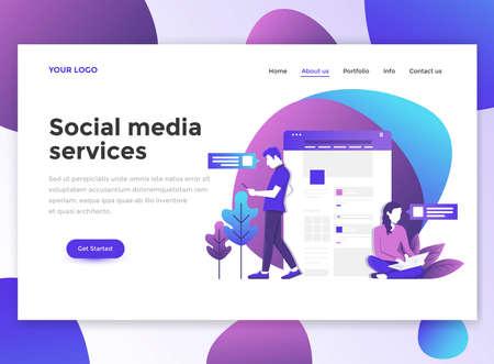 ソーシャル メディア サービスのランディング ページ テンプレート。ウェブサイトやモバイルウェブサイト向けのWebページデザインのモダンなフラ