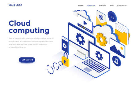 Modern flat design isometric concept of Cloud Computing for website and mobile website. Landing page template. Easy to edit and customize. Vector illustration Banco de Imagens - 100788386