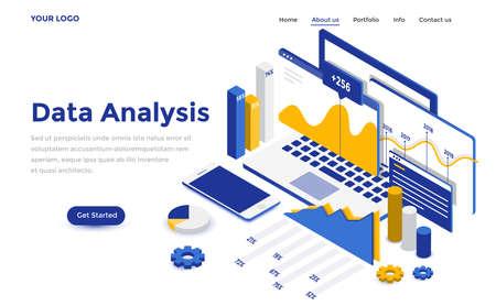 Isometrisches Konzept der modernen Datenanalyse der modernen Datenanalyse für Website und mobile Website. Landingpage-Vorlage. Einfach zu bearbeiten und anzupassen. Vektorillustration