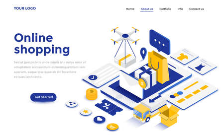 Modern plat ontwerp isometrisch concept van online winkelen voor website en mobiele website. Landingspagina sjabloon. Gemakkelijk te bewerken en aan te passen. Vector illustratie