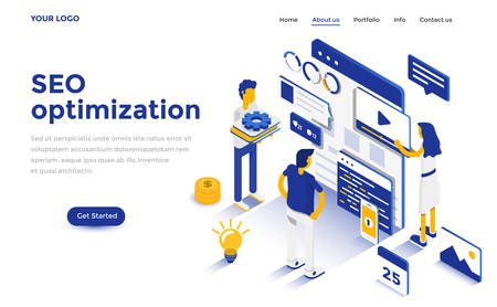 Modern flat design isometric concept of Seo Optimization for website and mobile website. Landing page template. Easy to edit and customize. Vector illustration 矢量图像