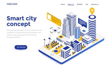 Nowoczesna, płaska koncepcja izometryczna Smart City dla strony internetowej i strony mobilnej. Szablon strony docelowej. Ilustracje wektorowe