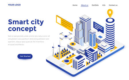 Modern flat design isometric concept of Smart City for website and mobile website. Landing page template.
