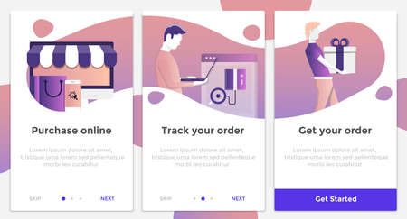 Onboarding Screens User Interface Kit. Modern user interface UX, UI screen template for mobile smart phone or responsive web site. E-commerce theme. Vector Illustration