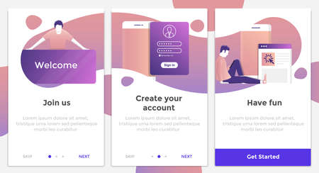 Onboarding Screens User Interface Kit. Modern user interface UX, UI screen template for mobile smart phone or responsive web site. Vector Illustration Çizim