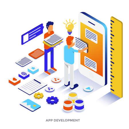 Ilustración isométrica de diseño plano moderno de desarrollo de aplicaciones. Se puede utilizar para sitios web y sitios web móviles o páginas de destino. Fácil de editar y personalizar. Ilustración vectorial
