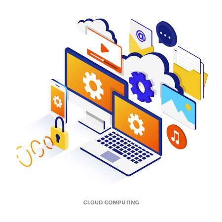 Modern flat design isometric illustration of Cloud Computing. Can be used for website and mobile website or Landing page. Easy to edit and customize. Vector illustration Illustration