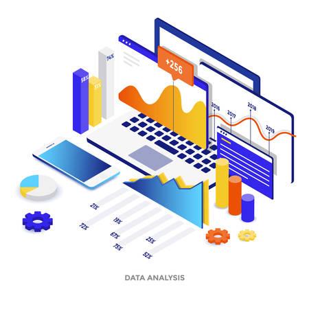 데이터 분석의 현대적인 평면 디자인 아이소 메트릭 그림. 웹 사이트 및 모바일 웹 사이트 또는 방문 페이지에 사용할 수 있습니다. 편집 및 사용자 정의가 쉽습니다. 벡터 일러스트 레이 션