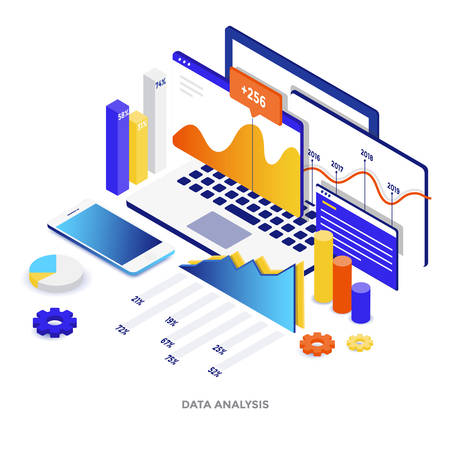Ilustración isométrica de diseño plano moderno de análisis de datos. Se puede utilizar para sitios web y sitios web móviles o páginas de destino. Fácil de editar y personalizar. Ilustración vectorial
