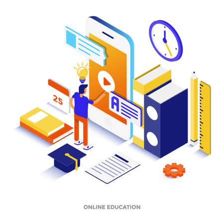 Modern flat design isometric illustration of Online Education. Can be used for website and mobile website or Landing page. Easy to edit and customize. Vector illustration Archivio Fotografico - 101300653