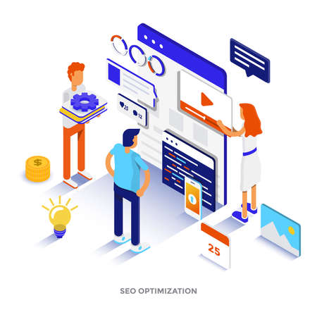 Modern flat design isometric illustration of Seo Optimization. Can be used for website and mobile website or Landing page. Easy to edit and customize. Vector illustration Stockfoto - 101300657