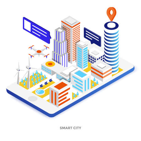 Modern flat design isometric illustration of Smart City. Can be used for website and mobile website or Landing page. Easy to edit and customize. Vector illustration Illustration